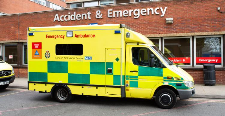 Image of an ambulance parked outside accident and emergency