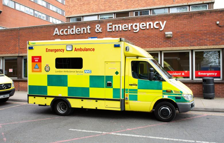 Ambulance parked outside Accident and Emergency
